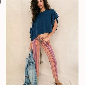 Free People Low Rise Striped Flare Pants NWT